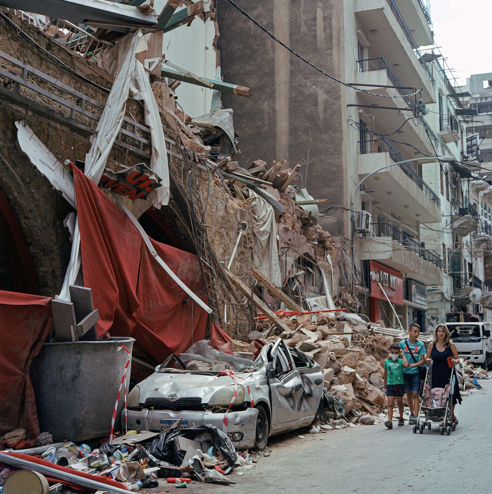 Edificio derrumbado en el barrio de Mar Mikhael