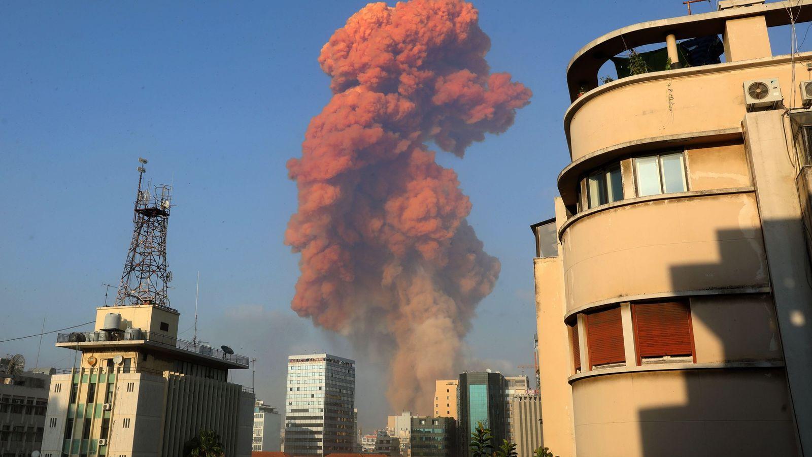 Fotografía de la explosión en Beirut