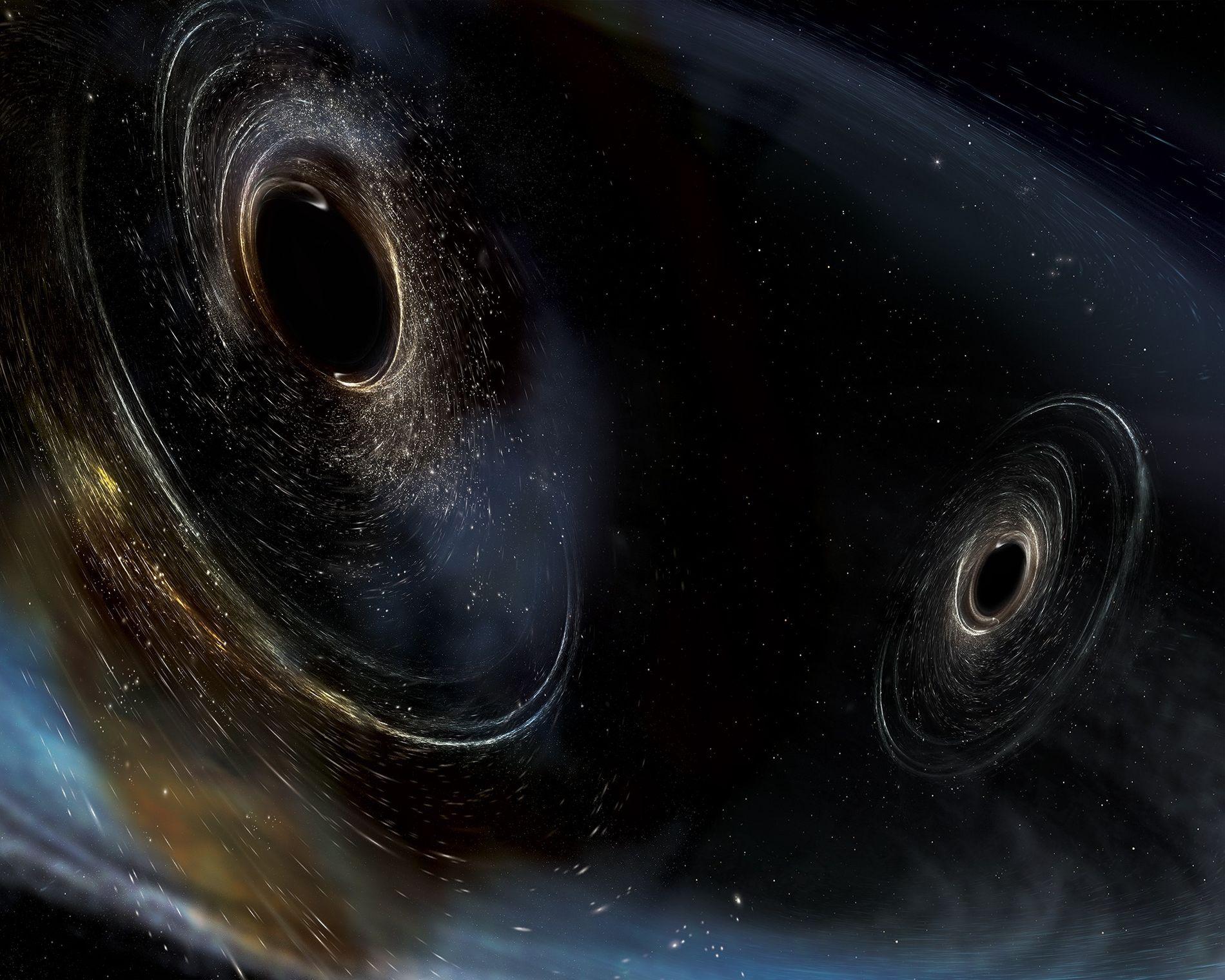 Resultado de imagen de Dos agujeros negros gigantes colisionan y forman ondas gravitacionales
