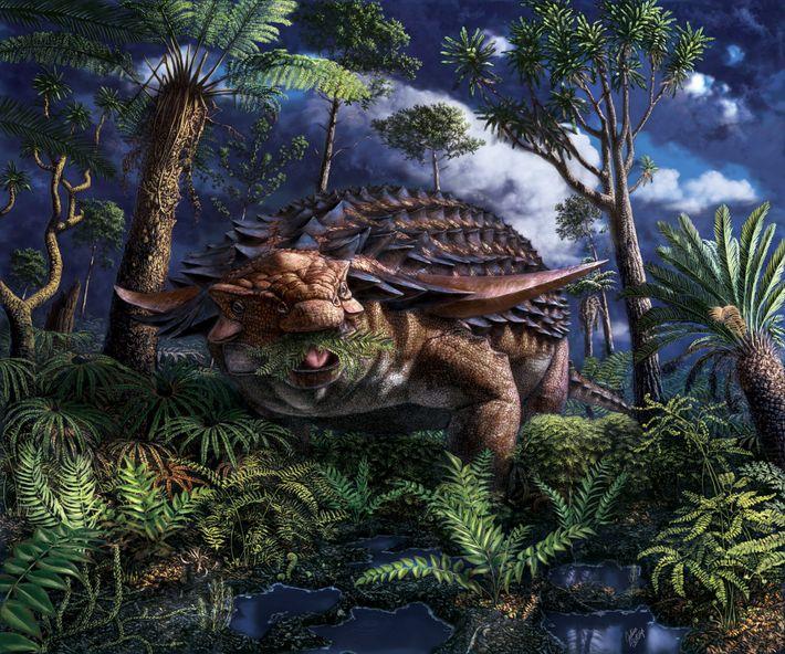 Ilustración del dinosaurio Borealopelta markmitchelli