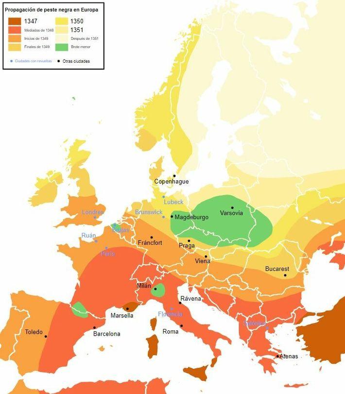 Difusión de la Peste negra. En verde, las áreas de menor incidencia.