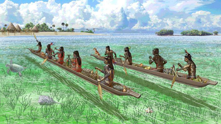 Los comerciantes caribeños se acercan a una isla en las Bahamas, parte de una antigua red ...