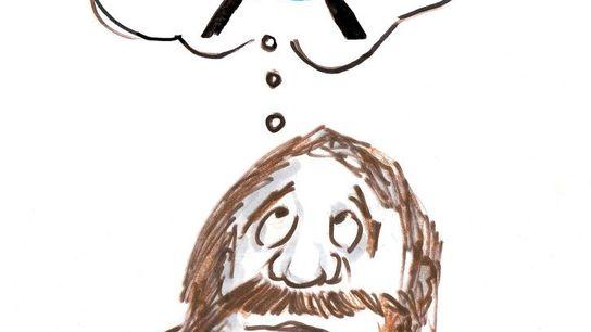 Dibujo de un hombre de las cavernas pensando