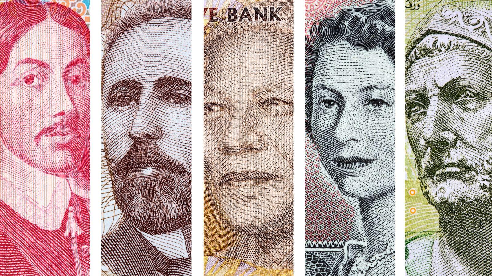 Mosaico de los rostros que aparecen en los billetes de varios países