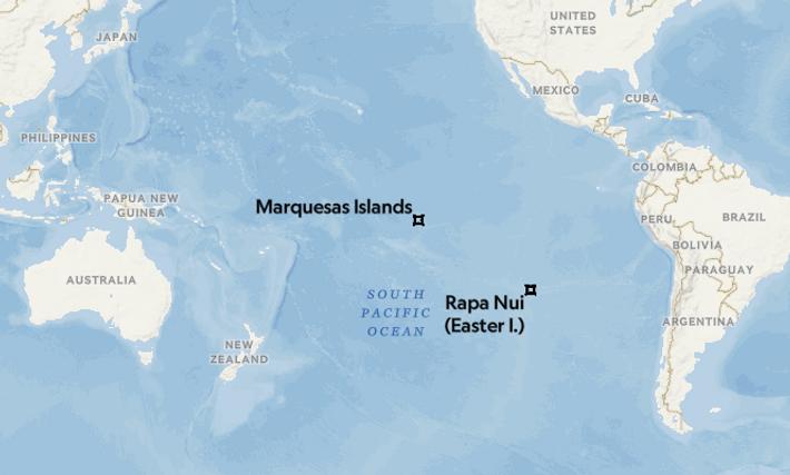 Fatu Hiva está mucho más lejos de Sudamérica que Rapa Nui, pero podría alcanzarse más fácilmente ...