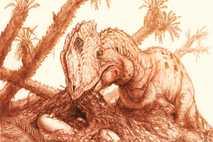 Una reconstrucción muestra a un ejemplar adulto de Dilophosaurus wetherilli acercándose para incubar un grupo de ...