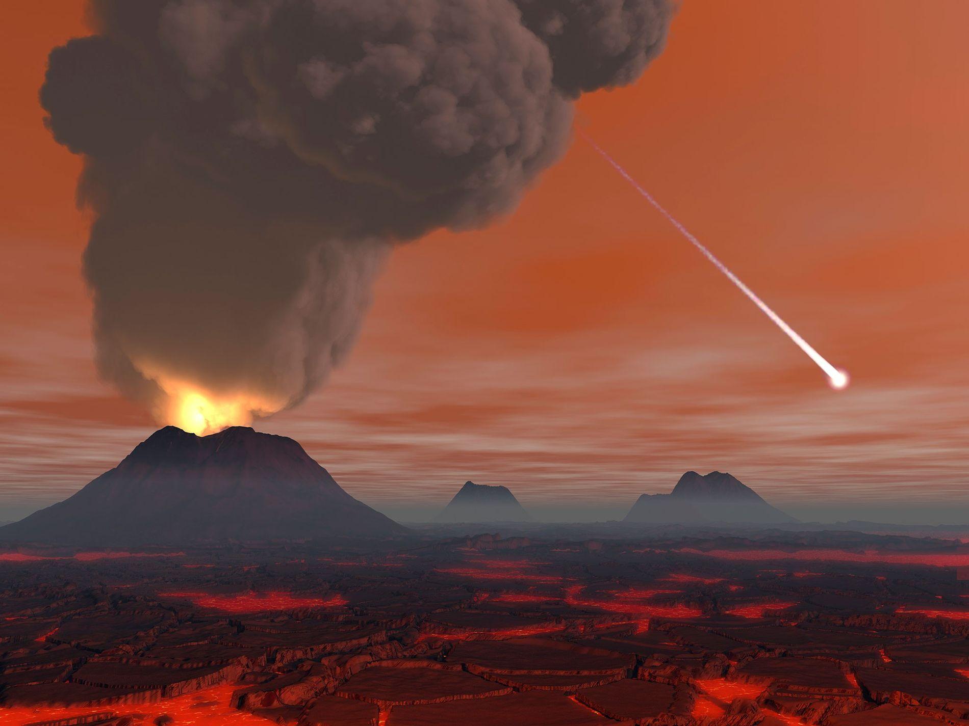 Científicos y artistas suelen imaginar los primeros años de la Tierra como un infierno dominado por volcanes y campos de lava. Pero en unos 200 millones de años, es probable que el paisaje se enfriara lo suficiente como para albergar agua sobre su superficie. Y la vida podría haber aparecido poco después.