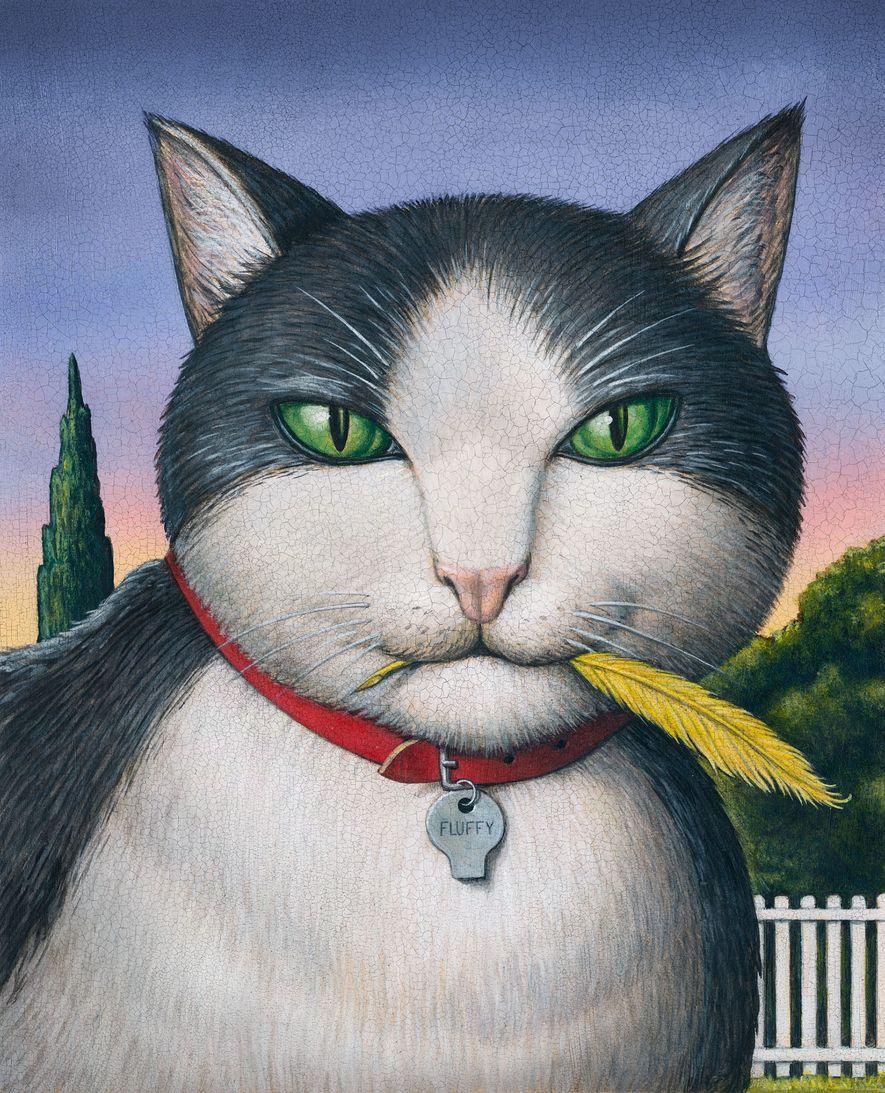Ilustración de un gato que acaba de devorar un ave.