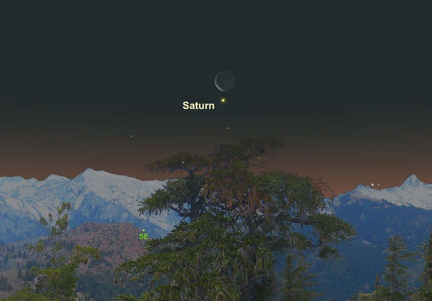 Un Saturno de color crema parecerá estar colgando cerca de la Luna el 11 de febrero