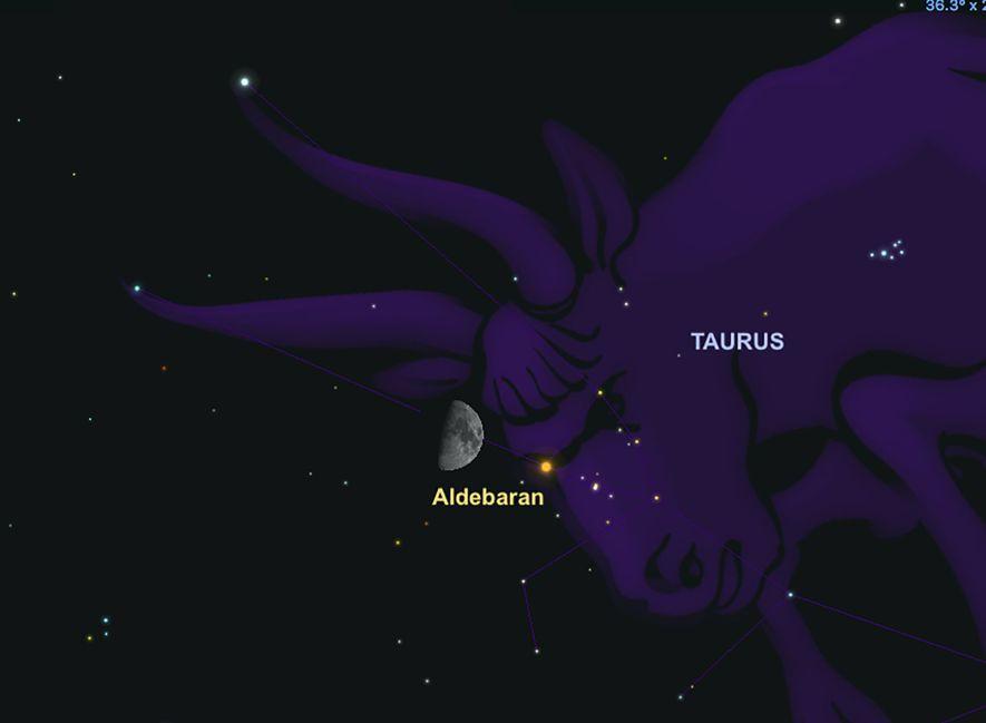 La estrella Aldebarán estará cerca de la Luna el 23 de febrero