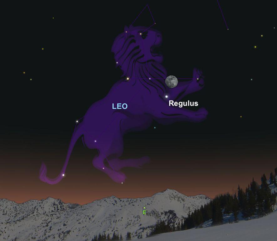 El 28 de febrero, la Luna visitará la brillante estrella Regulus