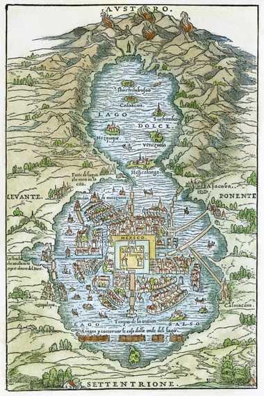 PLANO DE TENOCHTITLAN, 1556. /Plano de Tenochtitlan (México DF) en el momento de la Conquista Española.