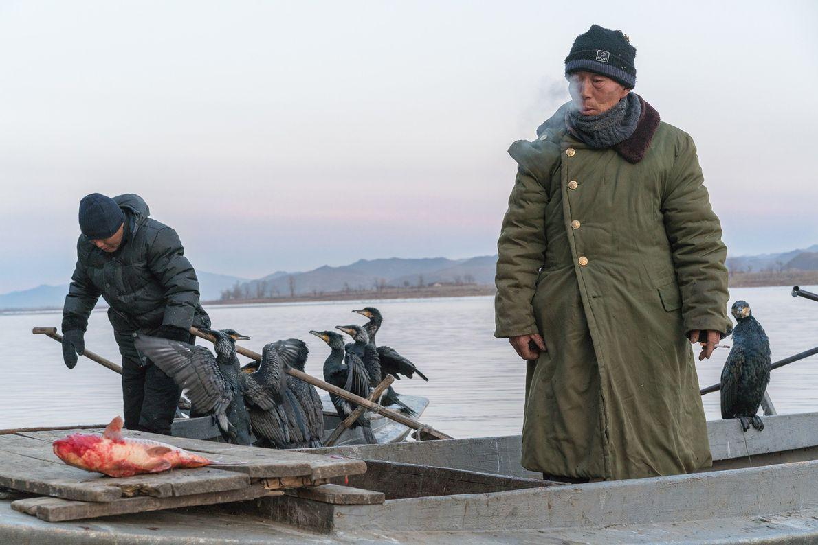 Pescadores con cormorán
