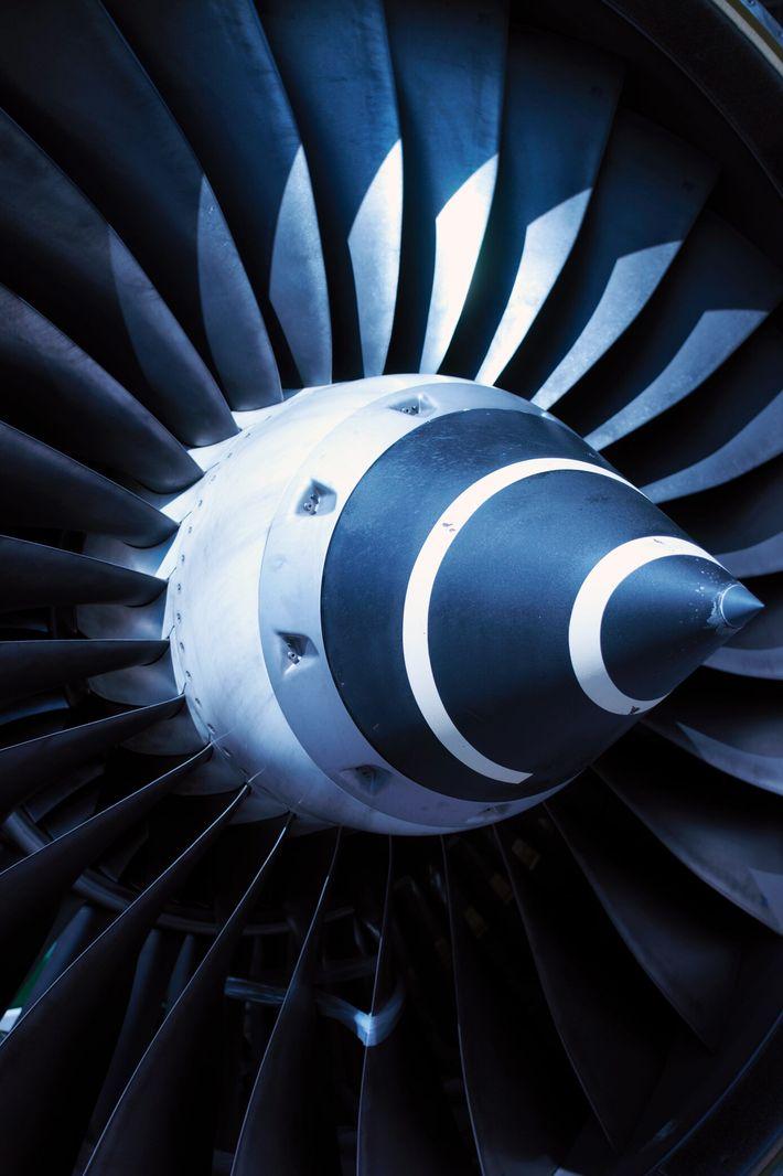 Fotografía de la turbina de un avión