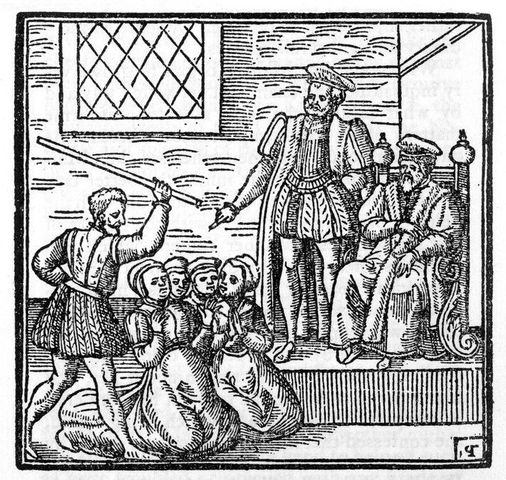 El rey Jacobo de Escocia en el juicio por brujería de North Berwick