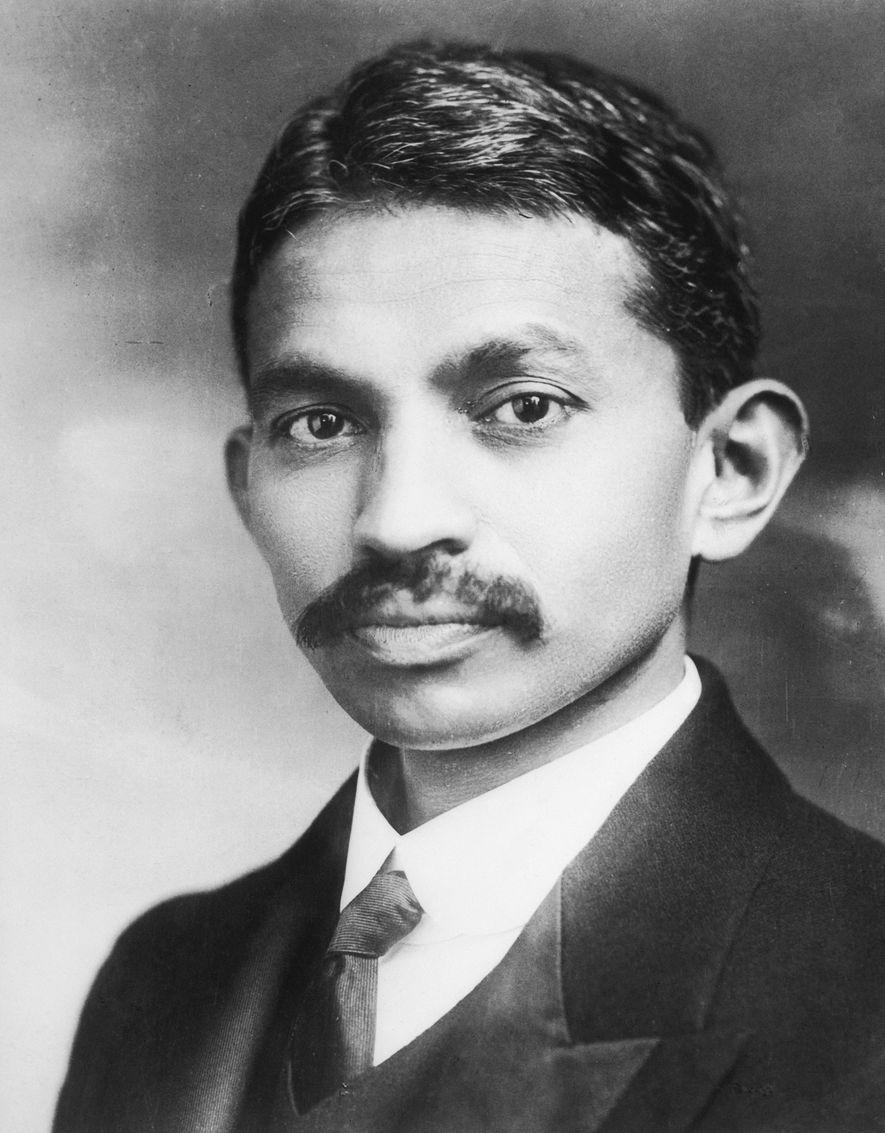 Retrato de Gandhi de joven.