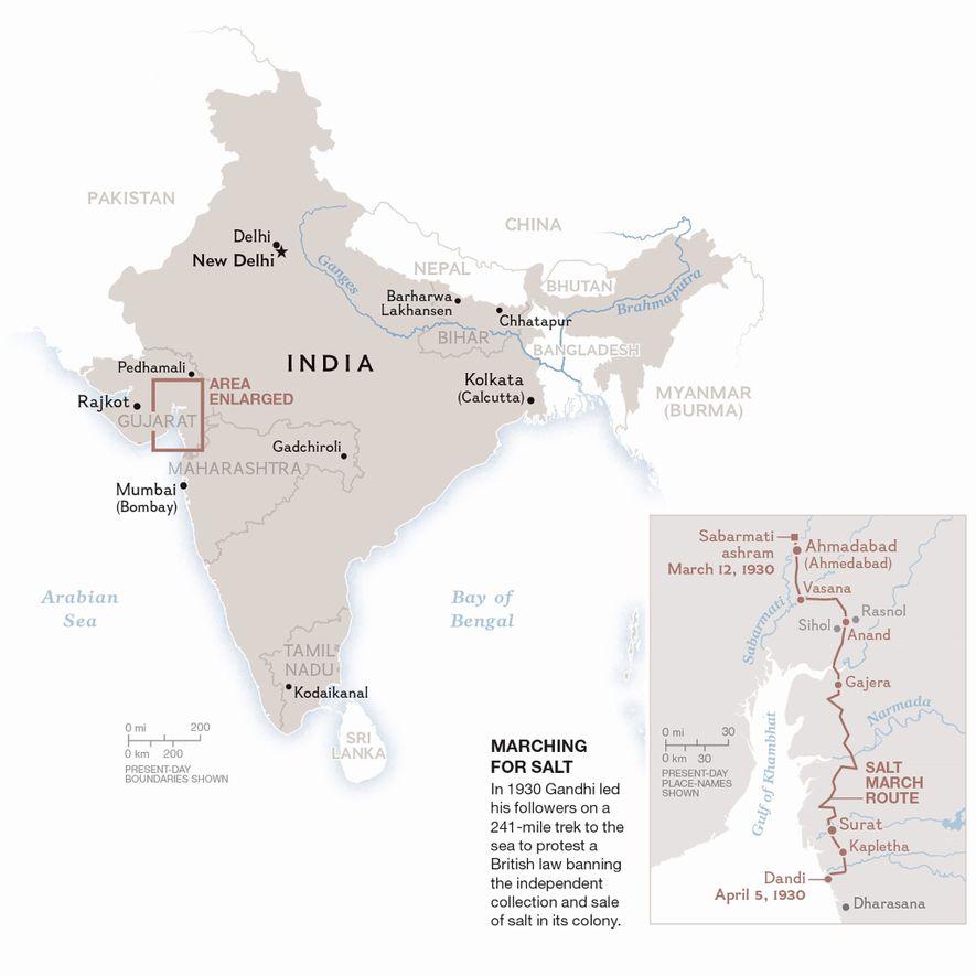 Un mapa de la marcha de protesta de Gandhi en 1930 contra una ley que obligaba ...