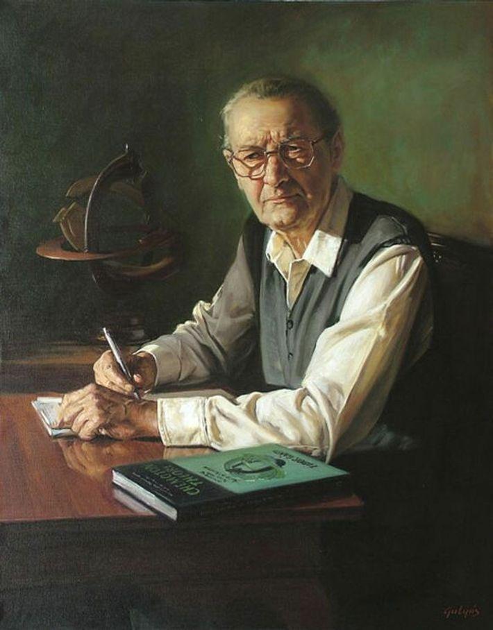 Retrato al óleo del biólogo húngaro Tibor Gánti.
