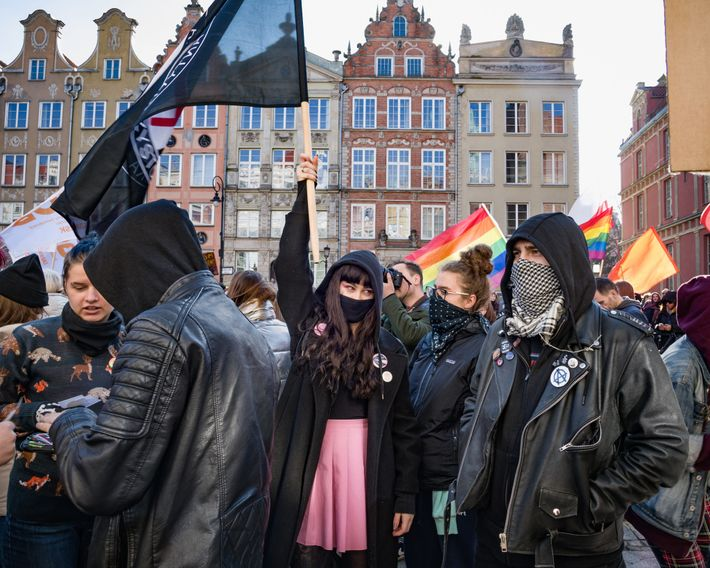 Manifestación feminista en Gdańsk