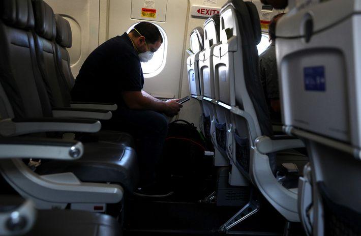 Fotografía de un pasajero en un vuelo