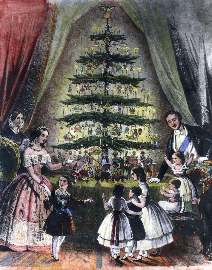 La reina Victoria y su familia junto al árbol de Navidad