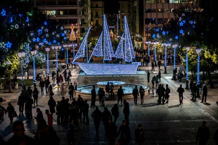Barco de Navidad en Atenas