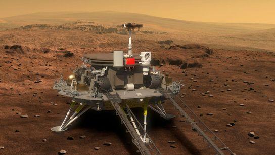 La plataforma de aterrizaje en Marte y el róver chino Zhurong