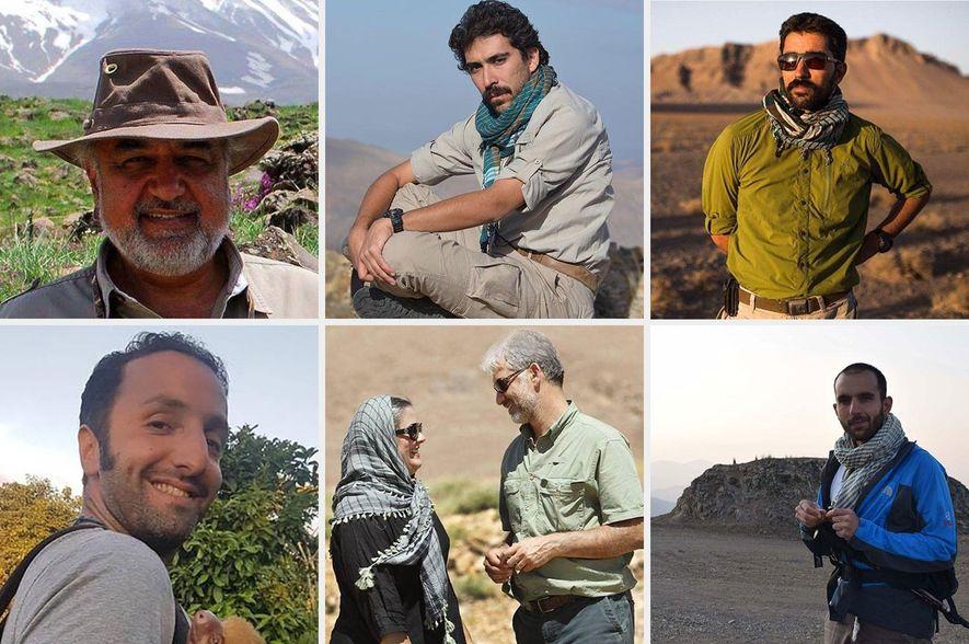 Siete de los ocho conservacionistas detenidos, en el sentido de las agujas del reloj desde arriba ...