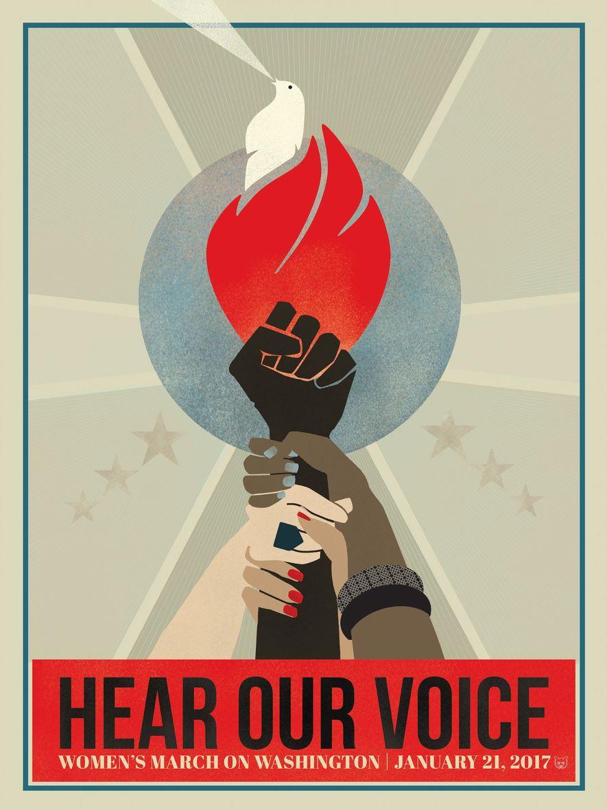 """Póster inspirado en la Marcha de las Mujeres de Washington de 2017 que reza """"Hear our voice""""."""