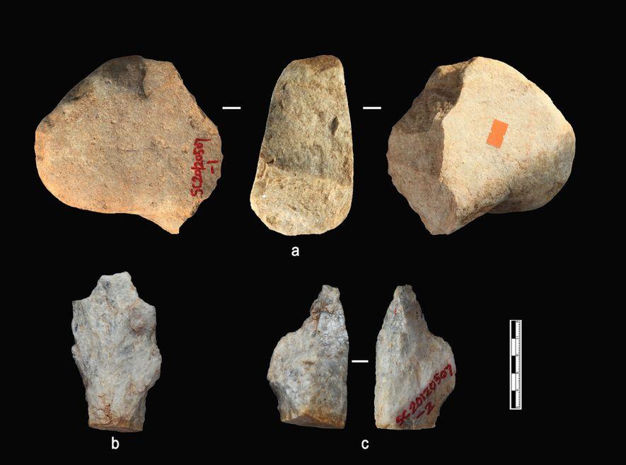 Algunos de los artefactos de piedra de las capas de sedimentos más antiguas de Shangchen.