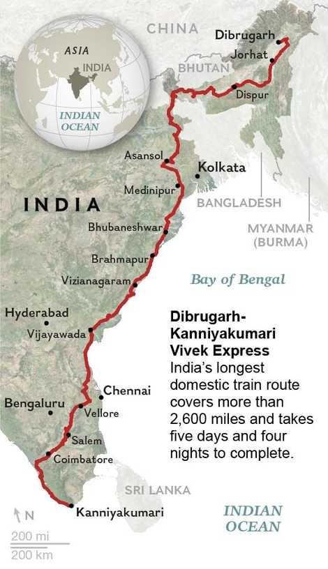 El Vivek Express se detiene 58 veces en su largo viaje entre Dibrugarh y Kanniyakumari.