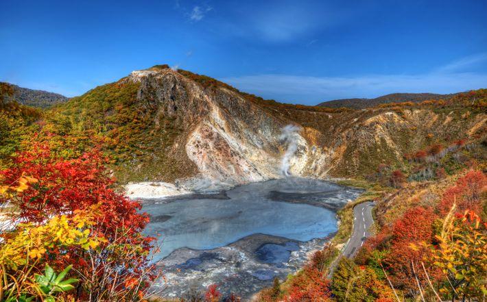 Imagen del lago Oyunuma en Jigoku-Dani, Noboribetsu, Hokkaido, Japón
