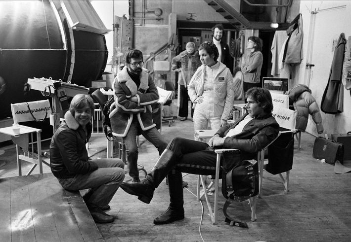 Mark Hamill, George Lucas, Carrie Fisher y Harrison Ford