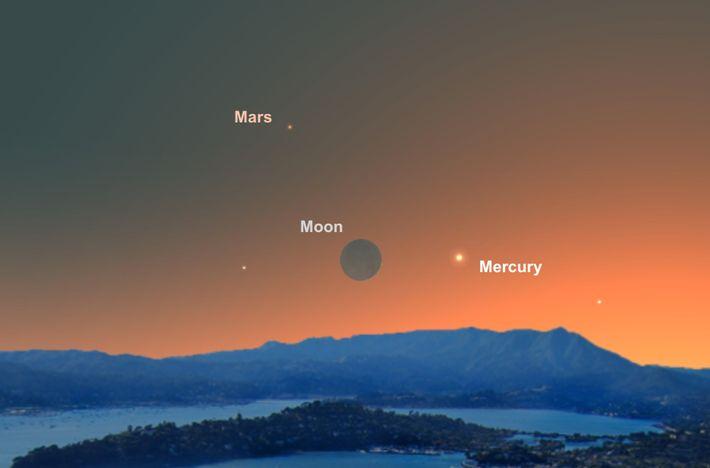 La luna y Mercurio