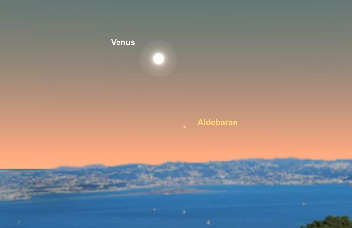 Venus y Aldebarán