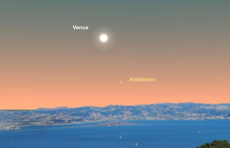 Busca Venus cerca de la estrella Aldebarán el 16 de junio.