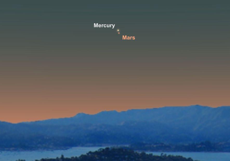 Busca Mercurio y Marte, que parecerán estar muy cerca en el cielo del 18 de junio.
