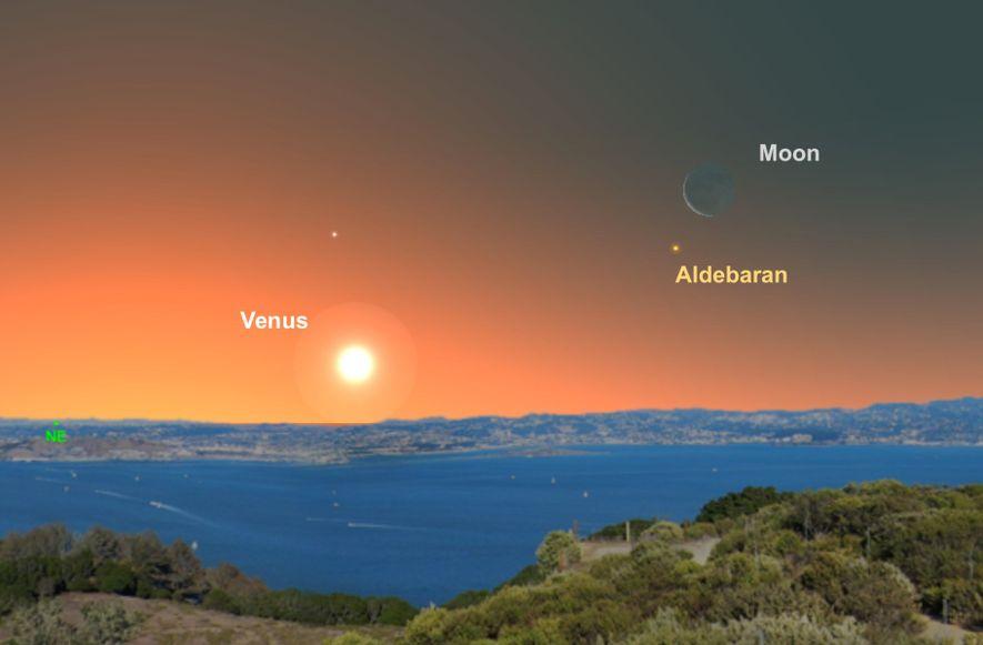 La luna creciente ayudará a los astrónomos aficionados a encontrar la estrella Aldebarán en los cielos ...