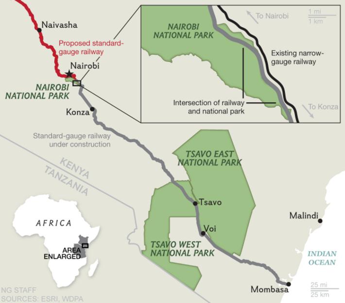 Mapa de trenes, Kenia
