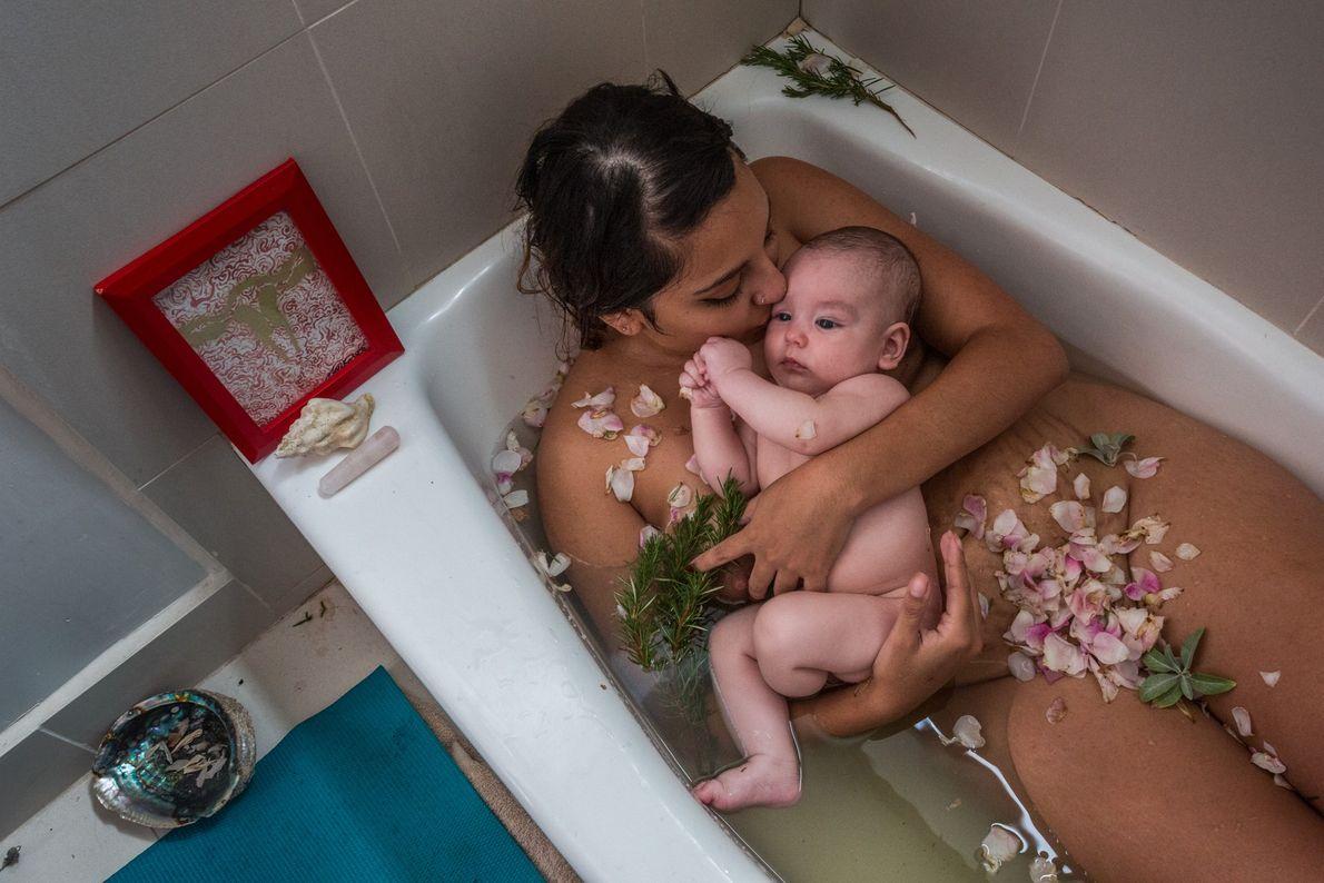 Laura Sermeño y su bebé