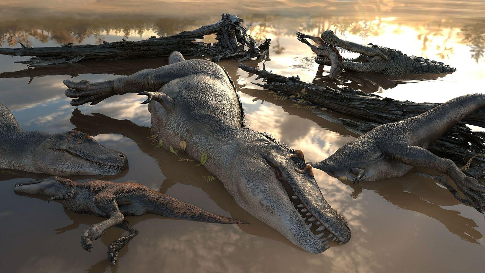 Grupo de tiranosaurios ahogados y cocodriliano carroñero
