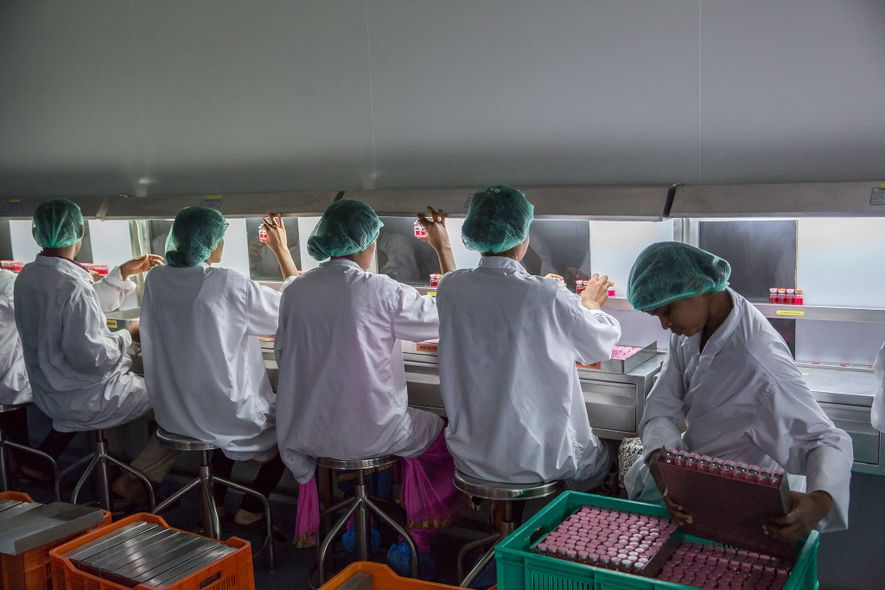 Los técnicos de laboratorio examinan las muestras de un patógeno llamado rotavirus, que causa diarrea infantil ...
