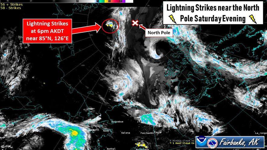 La tarde del sábado 10 de agosto se documentaron una serie de impactos de rayos a 300 millas náuticas del Polo Norte. Es la mayor cantidad de impactos de rayos registrados hasta la fecha en latitudes tan septentrionales.