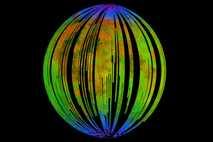 Las áreas azules de esta imagen, compuesta del 'Moon Mineralogy Mapper' a bordo del orbitador Chandrayaan-1, de la ...