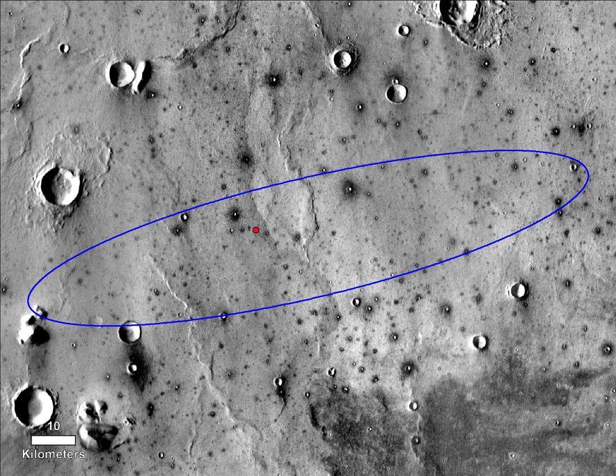 El punto rojo marca el lugar de aterrizaje final del aterrizador InSight de la NASA dentro ...