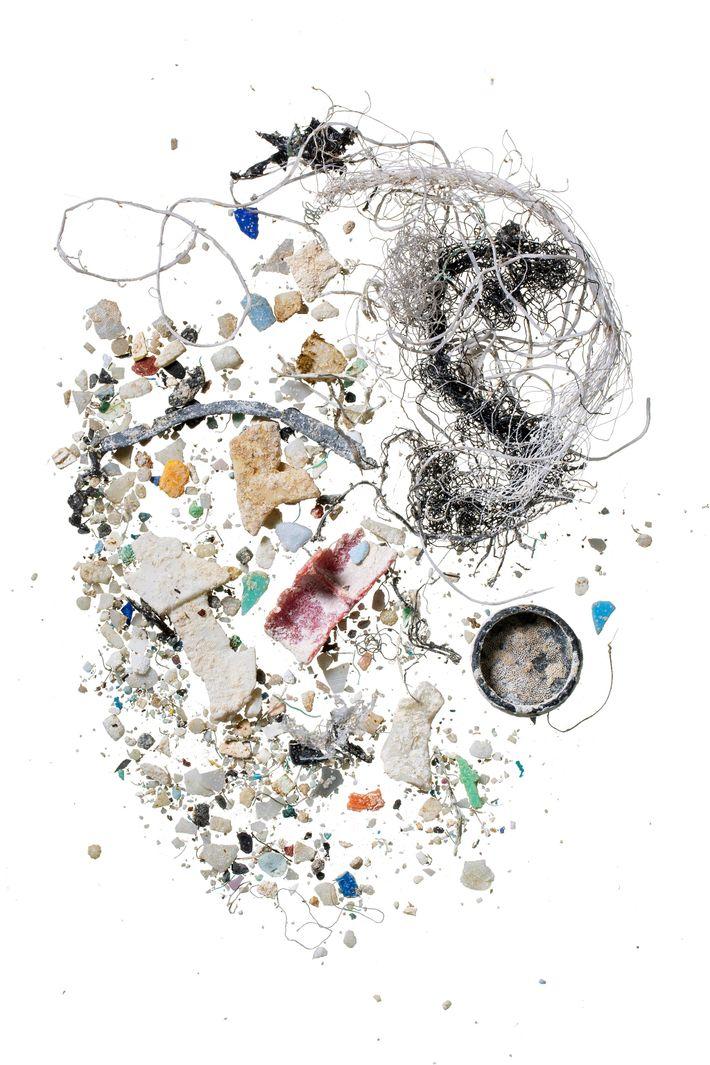 Muestra de partículas de plástico