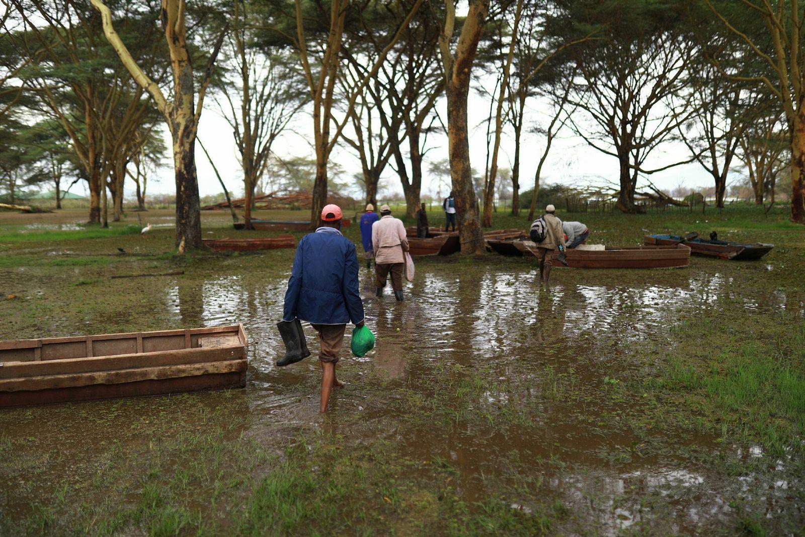 Pescadores en el lago Naivasha