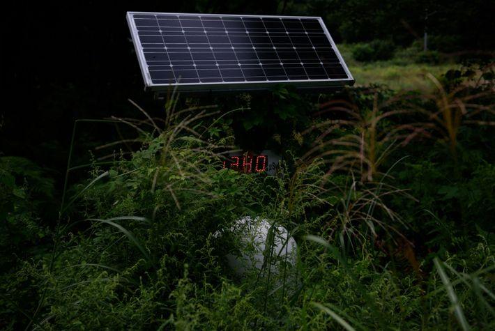 Pantalla con los niveles de radiación en Fukushima