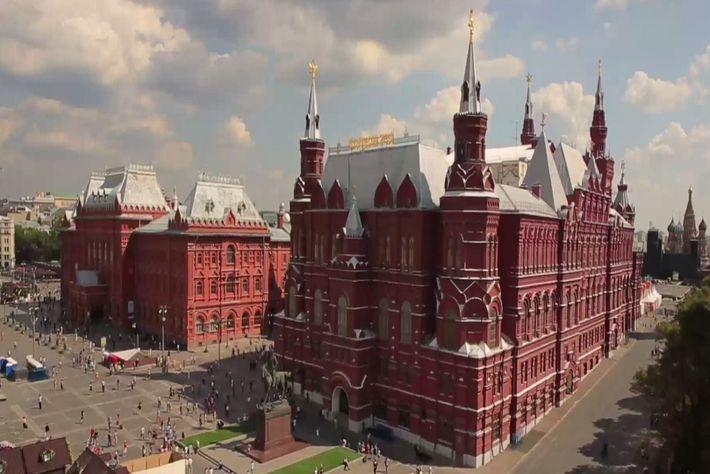 Vista aérea de la Plaza Roja de Moscú.