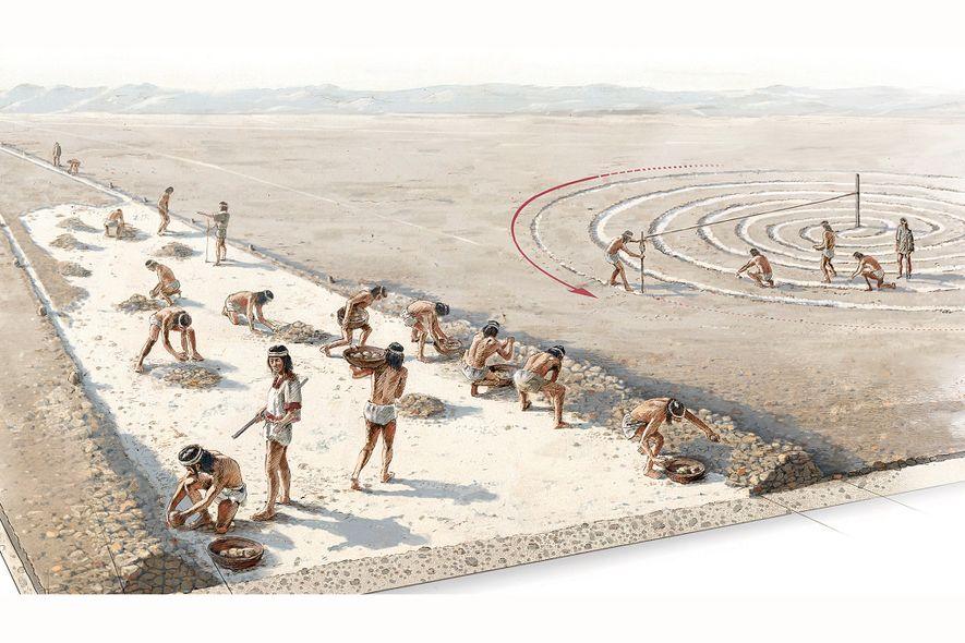 Los antiguos peruanos crearon geoglifos como las líneas de Nazca colocando piedras para definir los bordes de las líneas y, a continuación, raspando la capa superior de tierra entre los bordes para revelar el suelo de un color más claro.